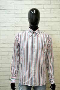 TOMMY-HILFIGER-Uomo-Camicia-Taglia-L-Maglia-Manica-Lunga-Camicetta-Righe-Shirt