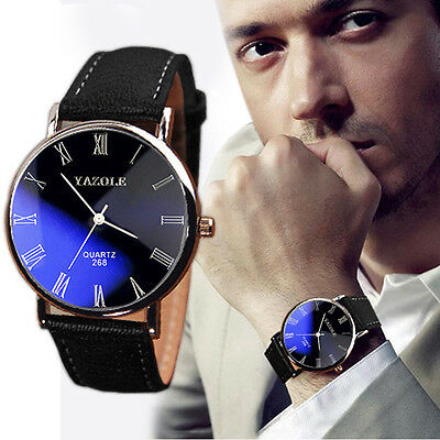 Luxury Fashion Leather Mens Blue Ray Glass Quartz Analog Classic Wrist Watches