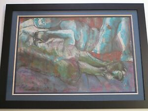 LARGE-EXPRESSIONIST-PAINTING-TWO-NUDES-RECLINED-MODERNISM-MYSTERY-ARTIST-VINTAGE