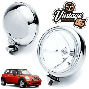 PAIR-OF-2x-5-034-CLASSIC-CAR-BMW-MINI-CHROME-SPOT-LAMPS-SPOT-LIGHTS-MAXTEL