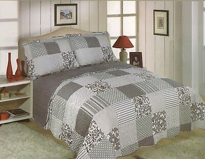 DOUBLE SIZE ARIANA MULTI GREY PATCHWORK CHECK QUILTED BEDSPREAD THROW ONLY