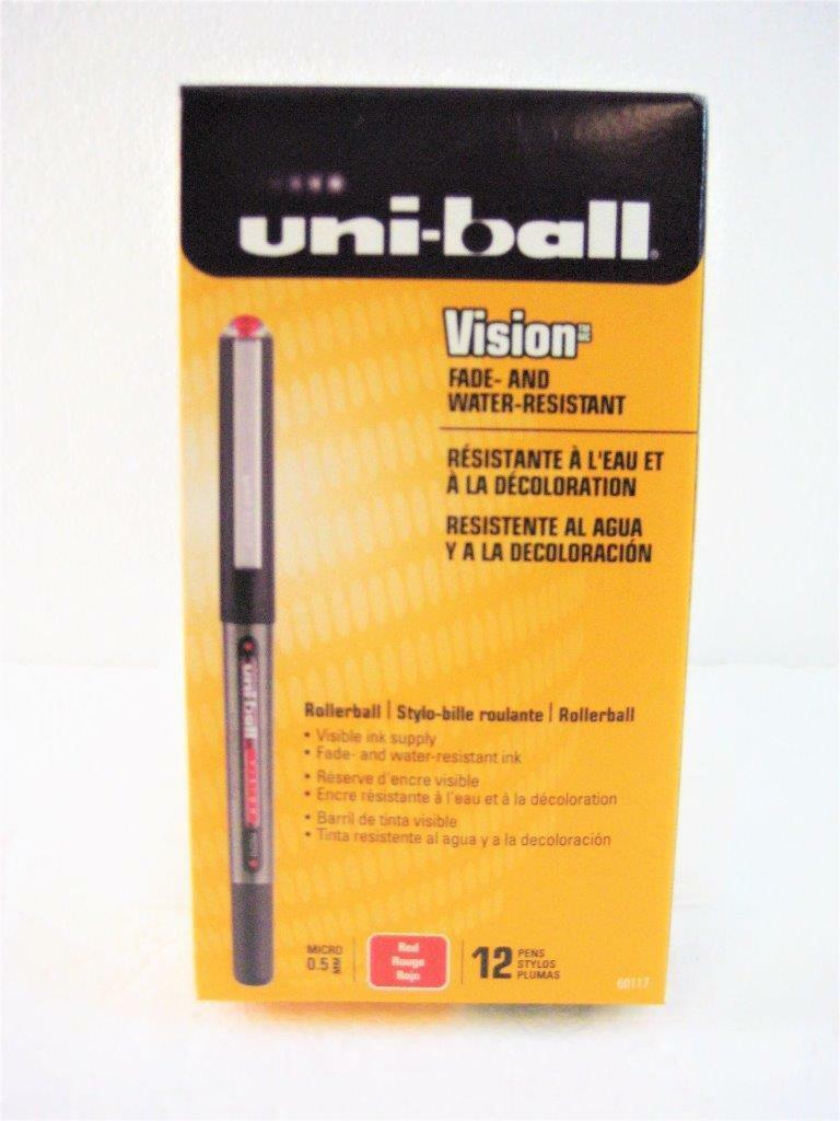 """/""""Uni-Ball Onyx Roller Ball Stick Dye-Based Pen Red Ink Fine Point Dozen/"""""""