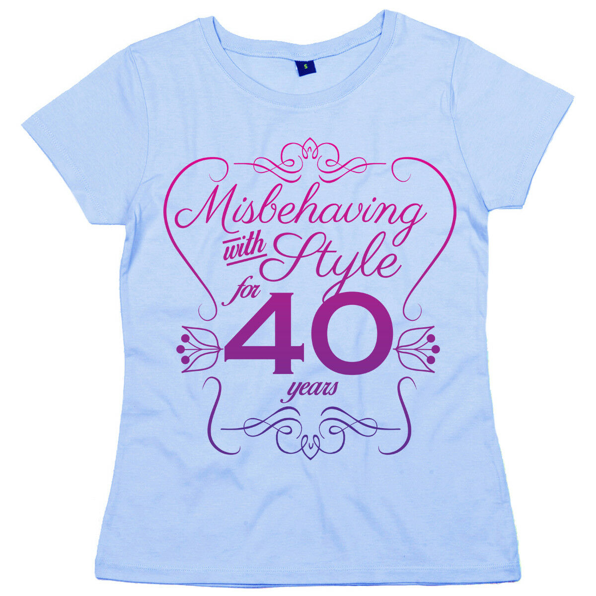 """85th Birthday T-Shirt /""""Misbehaving with Style for 85 Years/"""" Women/'s Funny"""