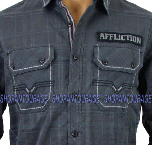 AFFLICTION Invaders 110WV367 New Men`s Black Button-Down Shirt
