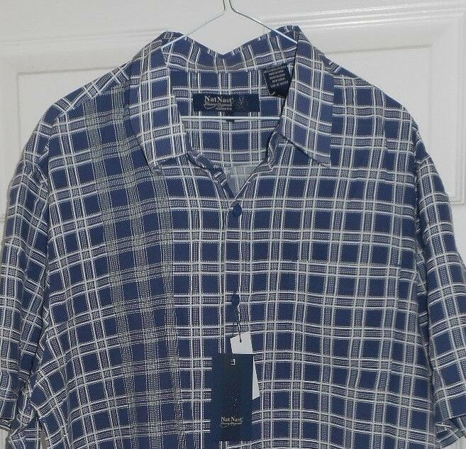 New NAT NAST bluee & White Plaid Button Front Silk Blend Casual Shirt HIPSTER L