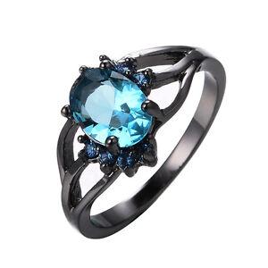 Image Is Loading Women 039 S Oval Blue Aquamarine Wedding Ring