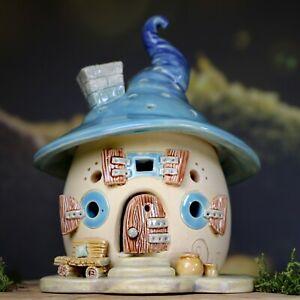 Windlicht-Haeuschen-ca-14-cm-hoch-einteilig-blau-Honiglicht-Keramik