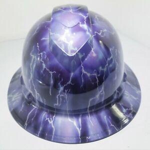 FULL-BRIM-Hard-Hat-custom-hydro-dipped-PURPLE-MAGIC-LIGHTNING-OSHA-APPROVED