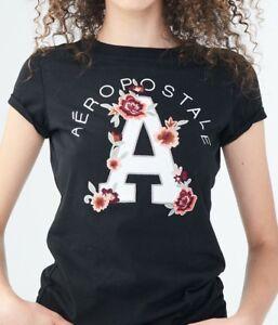 Aeropostale-Womens-Shirt-XL-Floral-034-A-034-Black-Tee