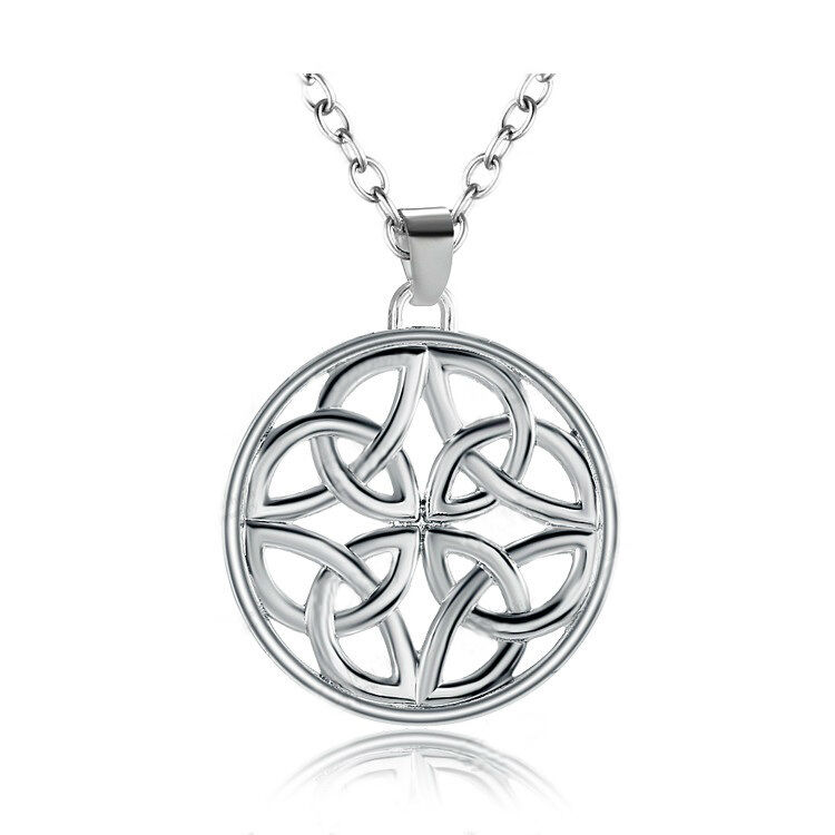 925 Silver Plt Celtic Shield Knot Circle Engraved Necklace Wicca