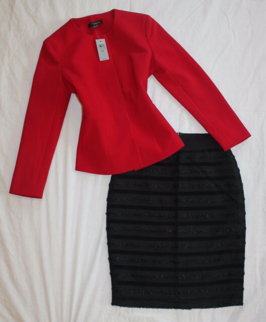 ANN TAYLOR Size 00P / 0P Women's Skirt Suit Black & Red NWT