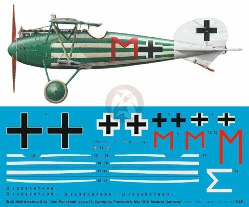 Peddinghaus 1//48 Albatros D.Va Markings Carl Menckhoff Jasta 72 France WWI 3668