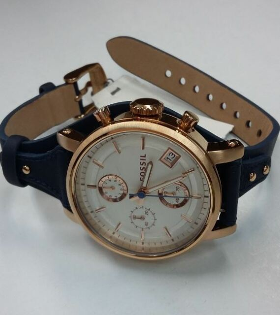 04d8314f31b Fossil ES3838 Original Boyfriend Chronograph Navy Leather Women s Watch