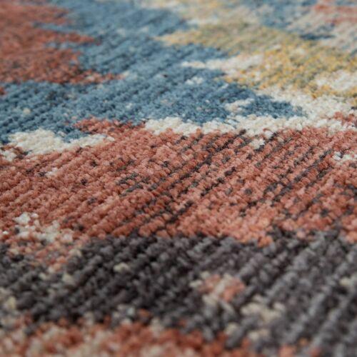 Kurzflor Teppich Bunt Ethno Gemälde Optik Used Look Rauten Muster In Rot Blau