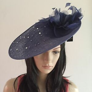 Image is loading NAVY-BLUE-DISC-WEDDING-HAT-FASCINATOR-OCCASION-MOTHER- 181edfb3b1a