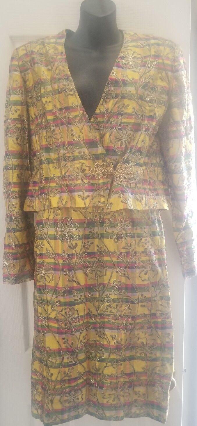 Susan Clark women's skirt suit vintage multicolor 100% imported silk  182 NWT