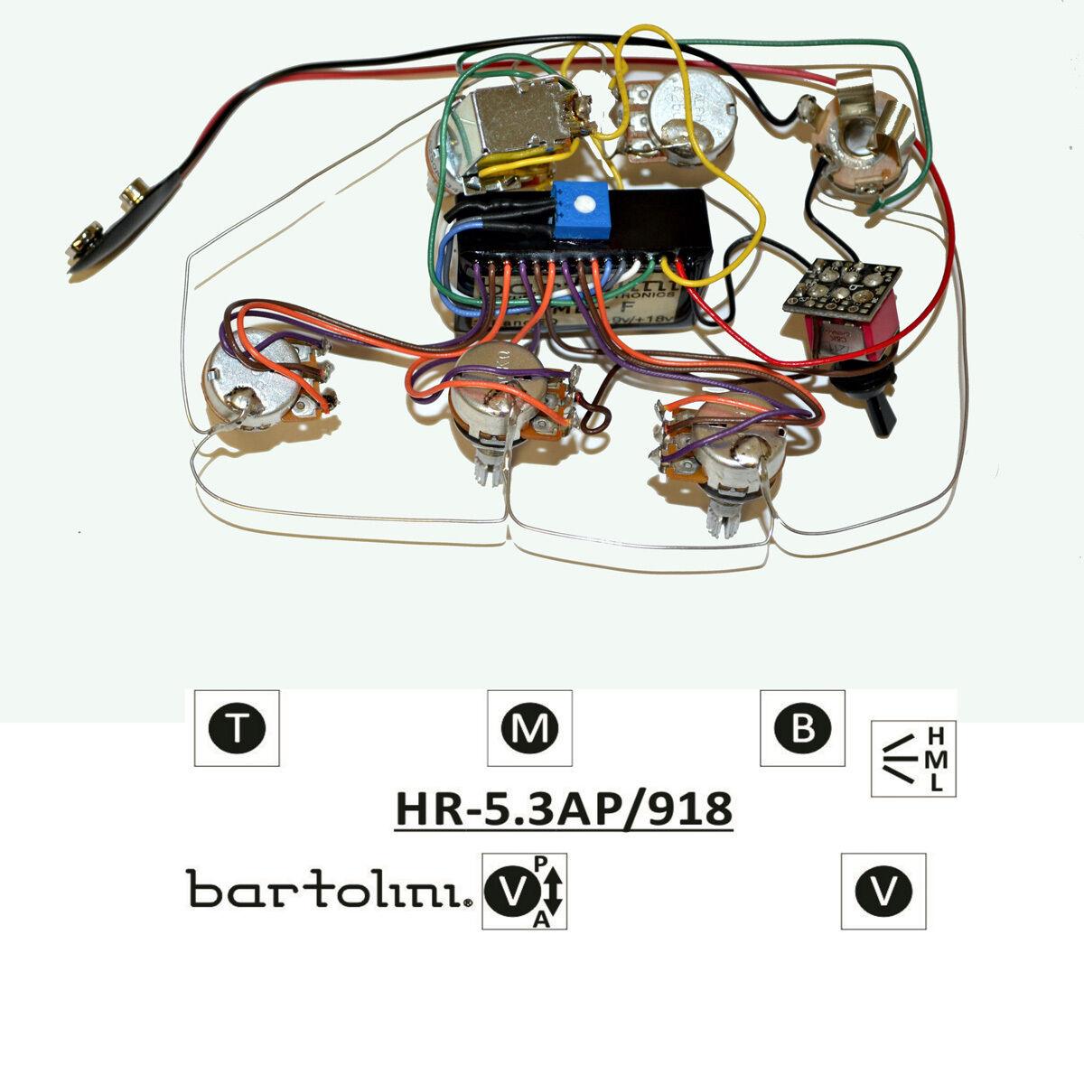 Bartolini Hr-5.3ap Pre-cablato 3 Orchestra Eq Attivo Passivo Preamplificatore