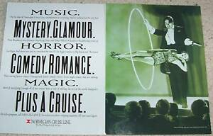 1991-print-ad-Norwegian-Cruise-Line-ship-travel-Magician-show-2-page-ADVERT