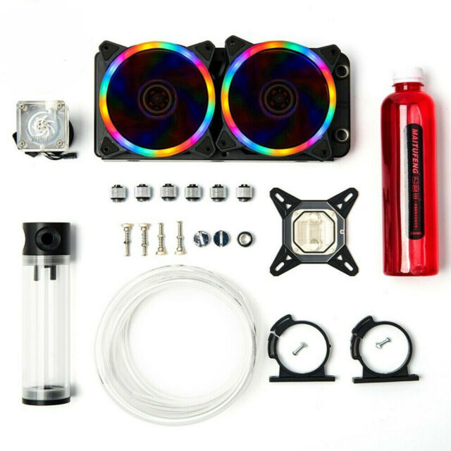 Pc Water Cooling Kit 240mm Radiator 200mm Reservoir Pump Cpu Block Green Led Fan For Sale Online Ebay