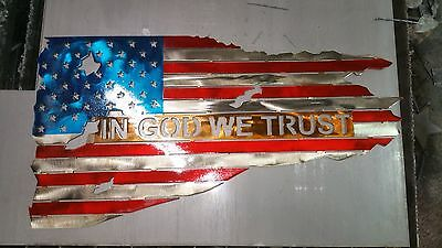"USA WOOD AND METAL FLAG  24/""  Hand Made in Waco Texas"