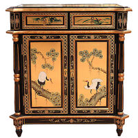 Gold Leaf Crane Design Lacquered Cabinet Oriental Furniture Chinese Fengshui