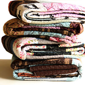 Vintage-Patchwork-Mix-Modern-Print-Thorw-Blanket-or-Quilt-with-two-pillow-cases