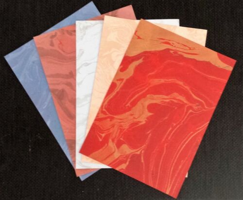 5 Hand made A 4 sized Marble patterned Cards for Craftwork