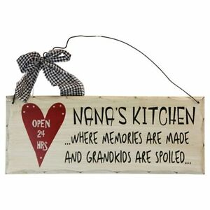 Nana-039-s-Kitchen-Open-24-hrs-Wood-Decorative-Plaque-Gifts-for-Grandparents10-034-x-4-034