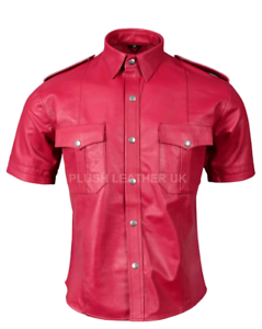 Mens Very Hot Real Sheep Leather in Full Red  Police Uniform Shirt bluef Gay