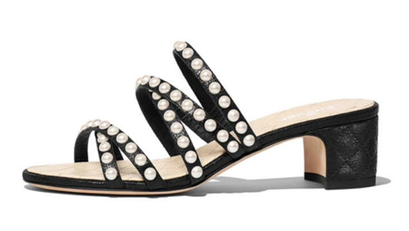 Beige Black Glass Pearls Straps Quilted Heels Slip-On Sandals 4cm Size 38-41