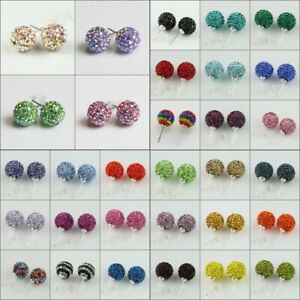 1Pair-Sparkle-Czech-Crystal-Round-Disco-Ball-925-Silver-Stud-Earrings-8mm-10mm