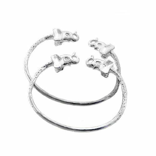 """Elephant .925 Sterling Silver West Indian Baby Bangles 5/"""" MADE IN USA"""