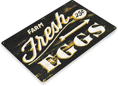 TIN SIGN Fresh Eggs 10 Cents Kitchen Cottage Farm Coop Rustic Metal Décor B989