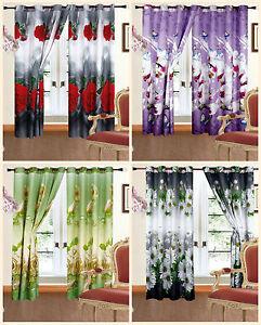 Beau-Paire-de-Pret-a-L-039-em-Ploi-3D-Photo-Imprime-Rideaux-Roses