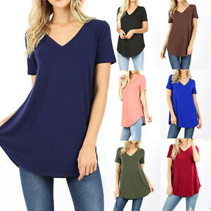Womens-Loose-Fit-Short-Sleeve-T-Shirt-V-Neck-Casual-Basic-Tunic-Top-Long-Blouse
