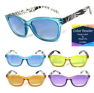 a0a33204d30f 1 or 3 Pair Cat Eye Full Magnified Color Lens Reading Sunglasses Sun ...