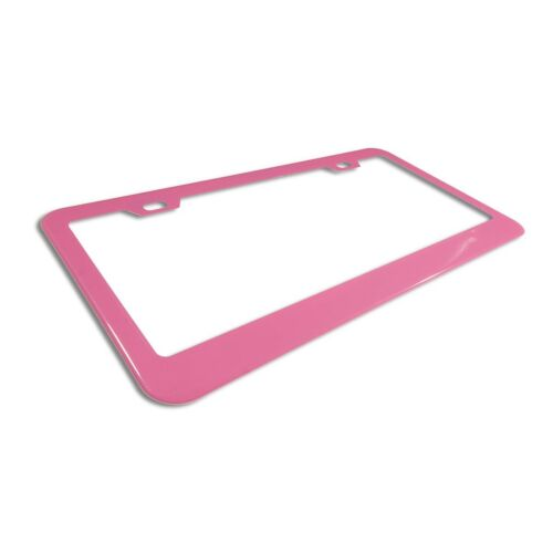 PLAIN QUALITY Stainless Steel Heavy Duty HOT PINK License Plate Frame Tag Border
