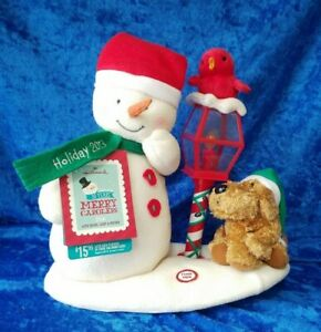 HALLMARK-MERRY-CAROLERS-SNOWMAN-DOG-BIRD-LAMPOST