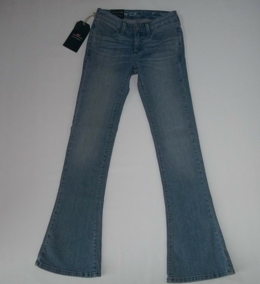 Vineyard Vines FLARED Stretch Denim bluee FOG Wash JEANS womens Size 00   NEW