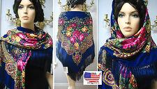 """Russian Ukrainian Gypsy Shawl Woolen Floral w/Fringes 55""""/140cm Blue Wool #BR6"""