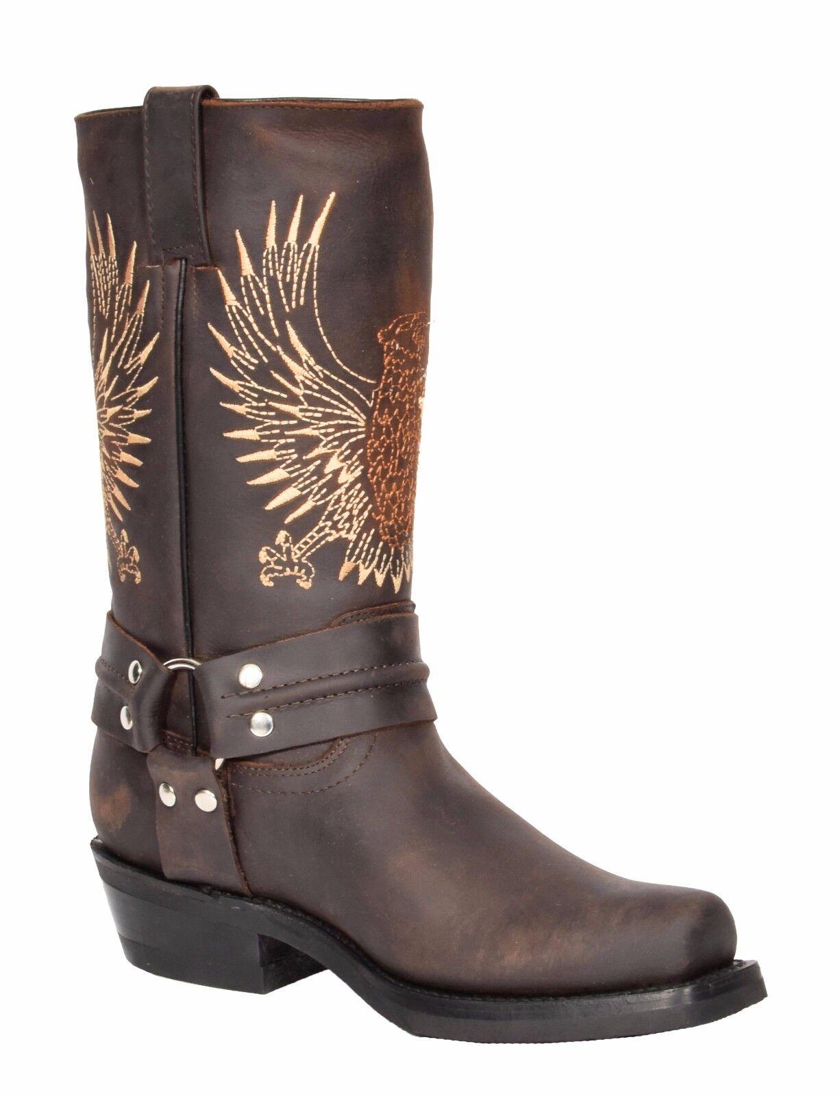 Mens Brown Leather Cowboy Biker Boots Slip On Square Toe Designer Grinders Boots