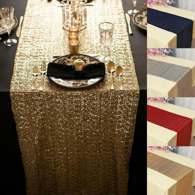 Rose Gold Glitter Sequin Table Runner Sparkly Wedding Xmas Party Deco 30X275cm