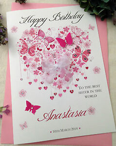 Image Is Loading Large Handmade Personalised Pink Heart Birthday Card Sister