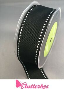 May-Arts-Stiched-edge-Black-grosgrain-Ribbon-1-5-inch-38mm-wide