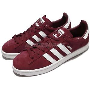 online retailer df62f 280e2 Image is loading adidas-Originals-Campus-Burgundy-White-Men-Women-Classic-