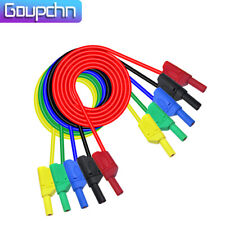 5pcs Safety Shrouded Full Insulated 4mm Banana Plug Multimeter Test Lead Cable