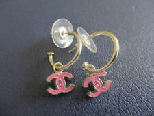 Authentic CHANEL CC pierced  earrings (pink small CC-silver)