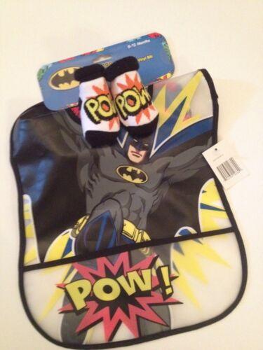 Baby Boy Superhero Batman Vinyl Plastic Large Bib Booties Socks Set Crumb Catche