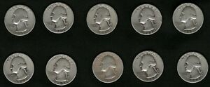 Lot-of-10-US-Washington-Silver-Quarters-Coins-Year-1943-FREE-Shipping