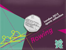 2012 50p OLYMPIC 19/29 ROWING COIN ON CARD BRILLIANTLY UNCIRCULATED a